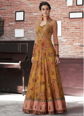 Gold and Salmon Silk Floor Length Trendy Gown For Festival