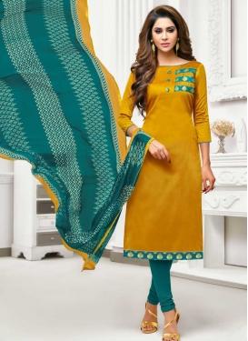 Gold and Teal Trendy Churidar Salwar Kameez For Casual