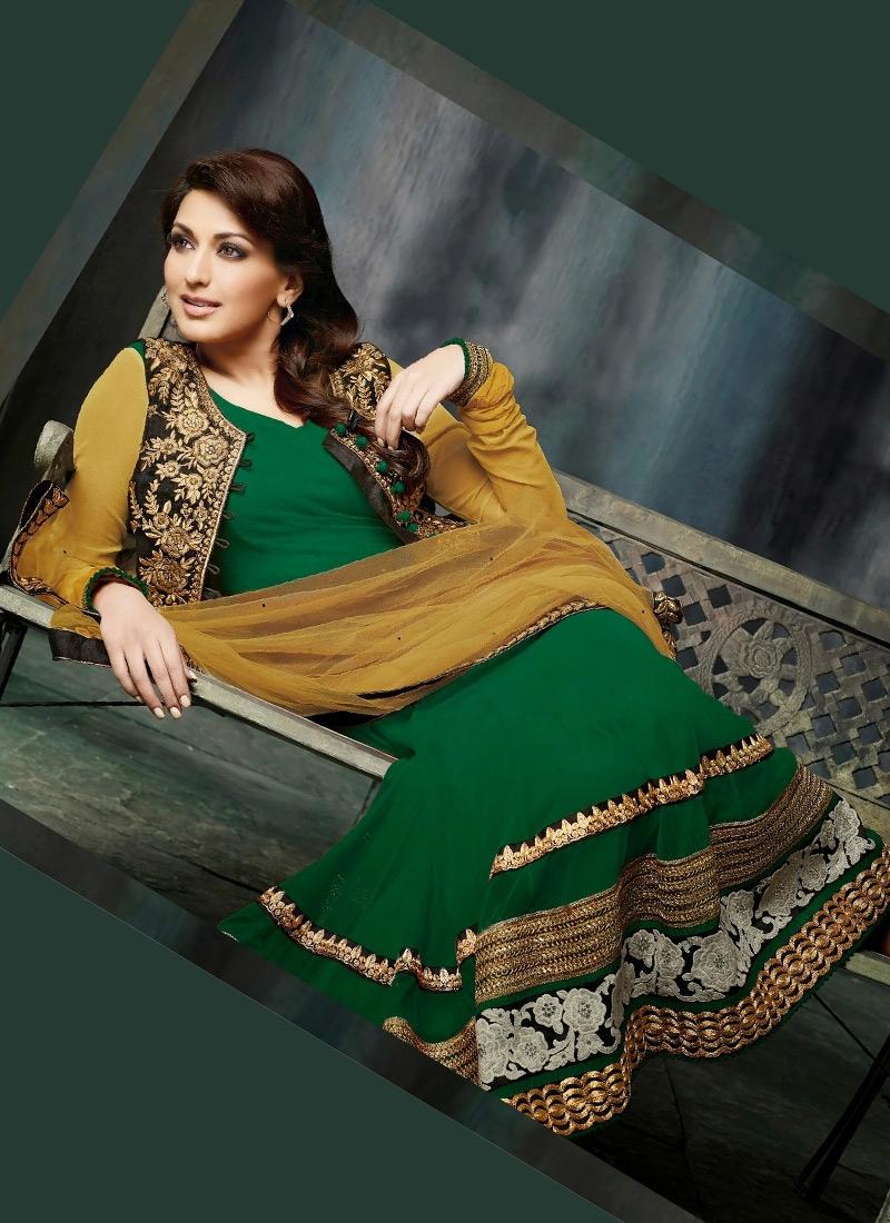 Gold Zardosi Work Sonali Bendre Bollywood Suit