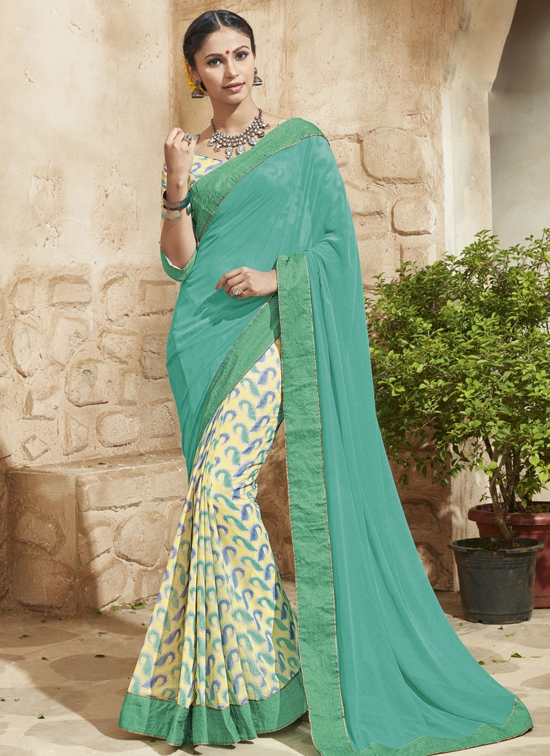 Gorgoniz Printed Half N Half Party Wear Saree