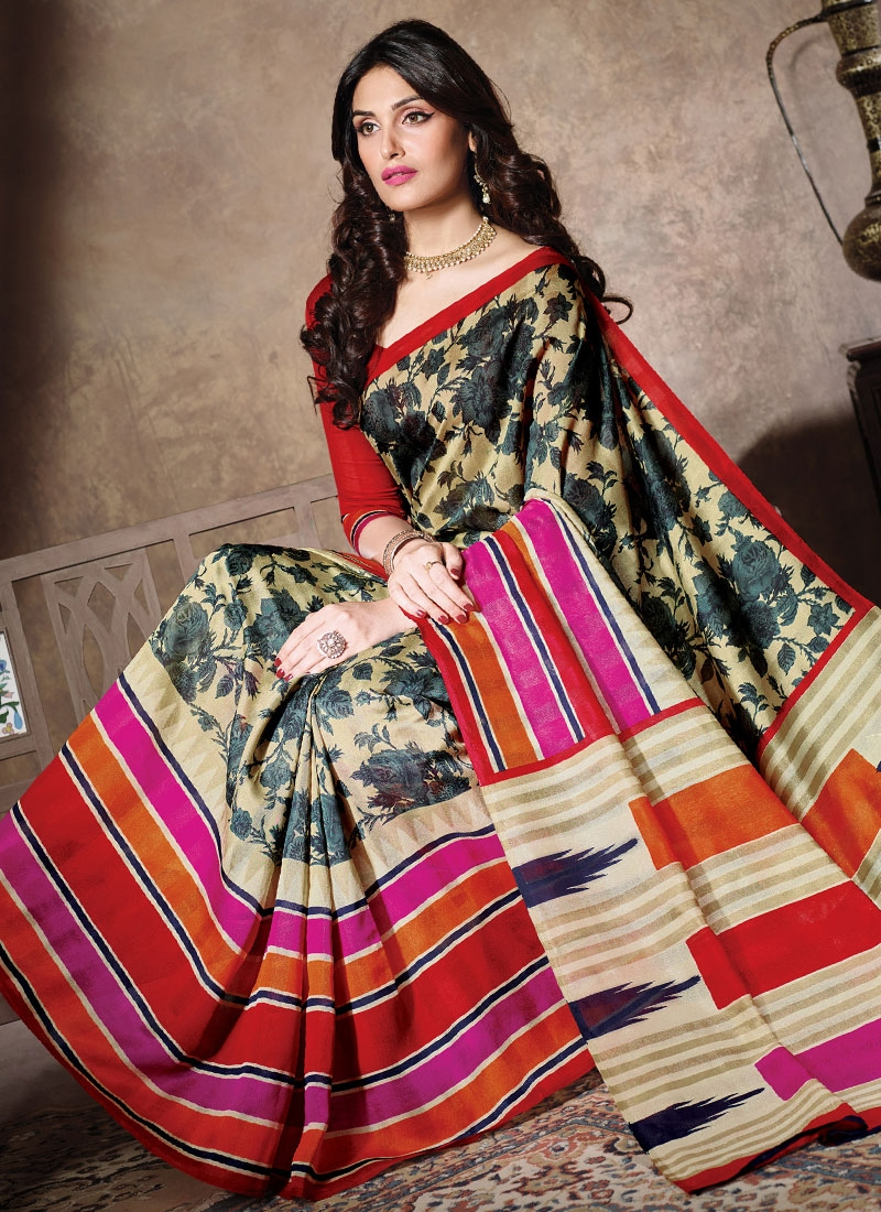 Gorgonize Art Silk Cream Color Casual Saree