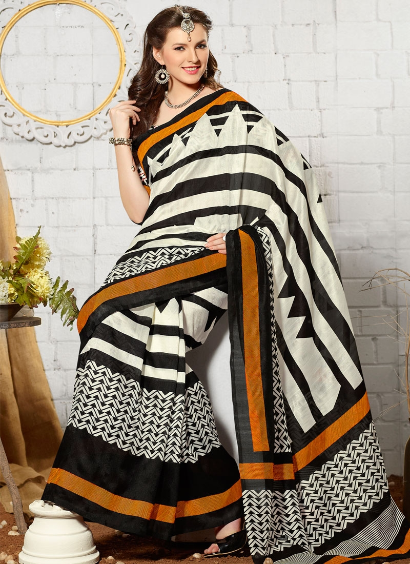 Gorgonize Art Silk Printed Casual Saree