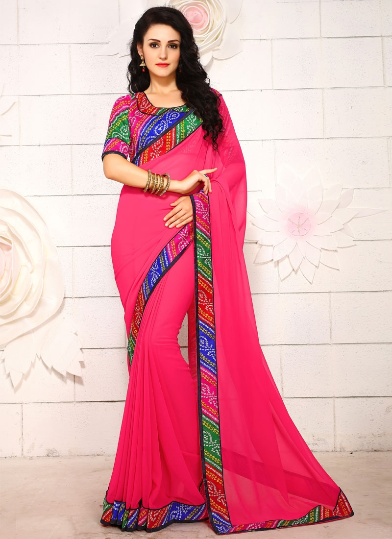 Gorgonize Bandhej Print And Lace Work Casual Saree