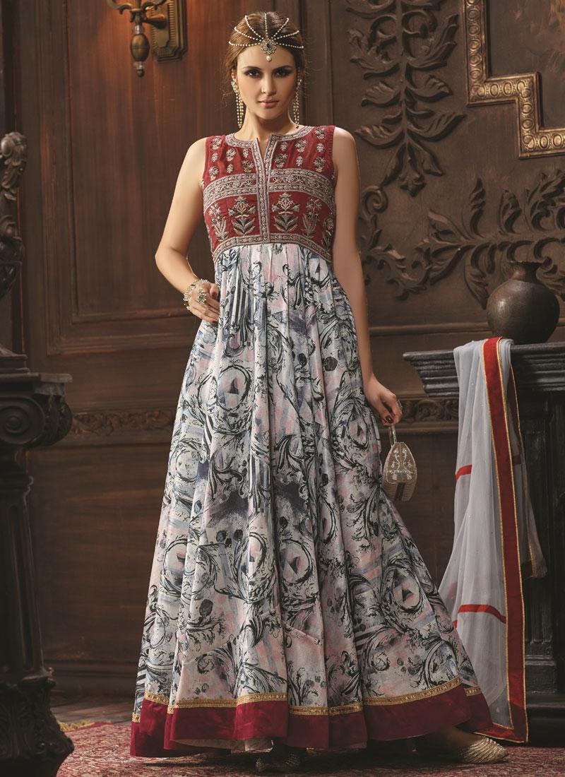 Gorgonize Banglori Silk Lace Work Long Length Designer Suit