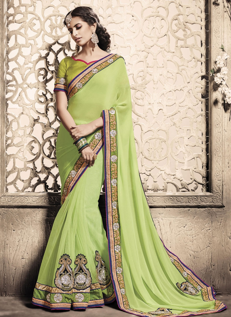Gorgonize Beads And Booti Work Party Wear Saree