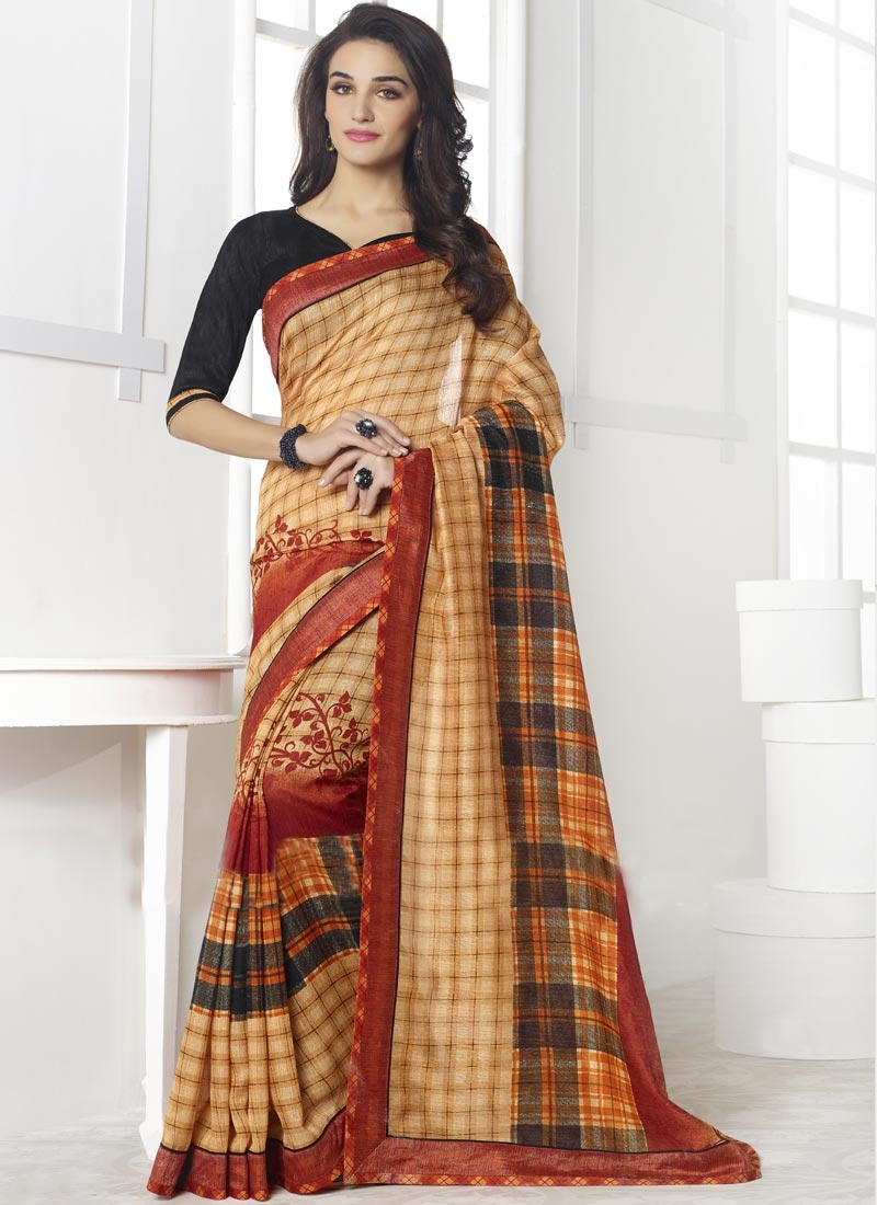 Gorgonize Beige Color Linen Casual Saree