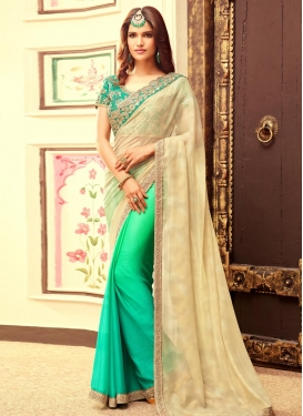 Gorgonize Chiffon Satin Embroidered Work Designer Half N Half Saree