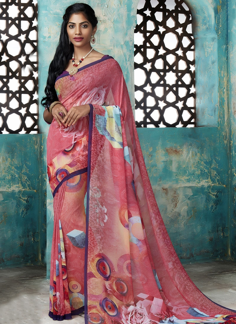 Gorgonize digital print work salmon color casual saree