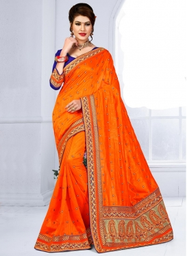 Gorgonize Embroidered Work Jute Silk Contemporary Style Saree For Festival