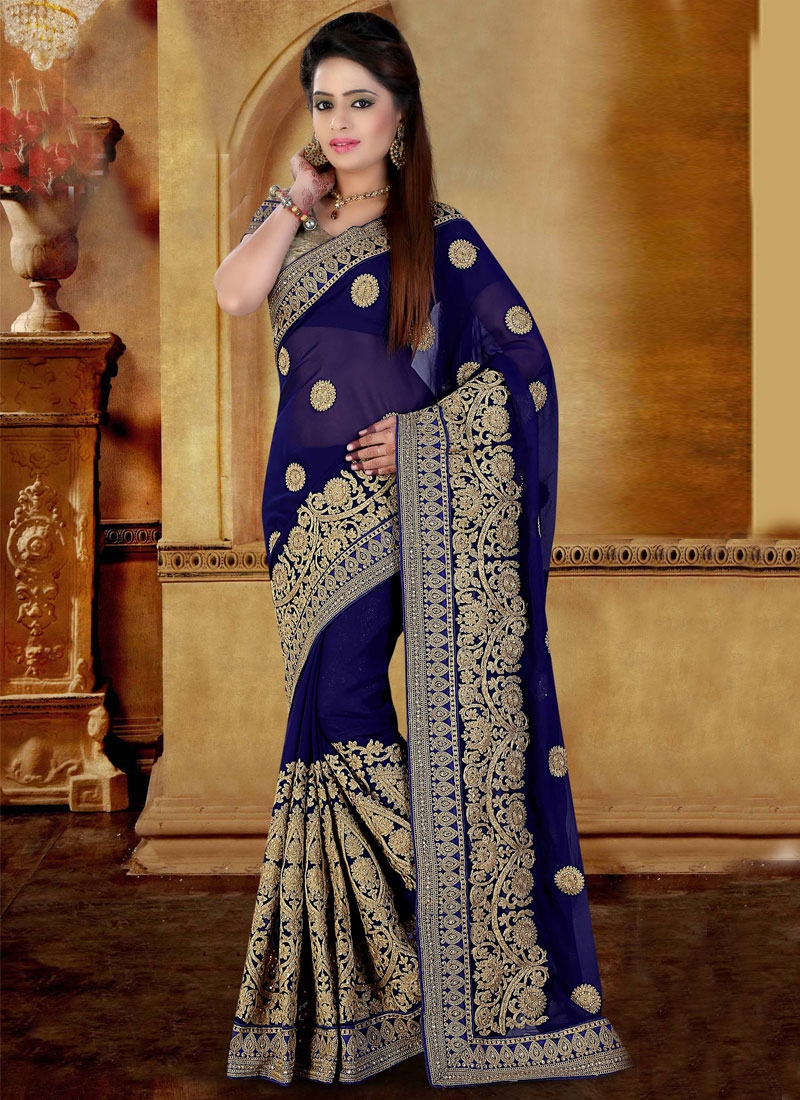 Gorgonize Embroidery And Stone Work Wedding Saree