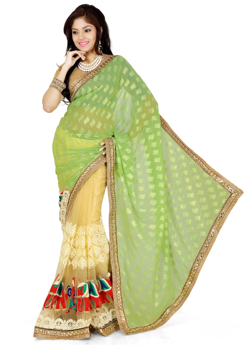 Gorgonize Embroidery Work Half N Half Designer Saree