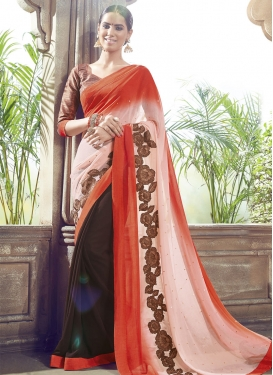 Gorgonize Faux Chiffon Half N Half Party Wear Saree