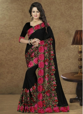 Gorgonize Faux Georgette Aari Work Designer Traditional Saree