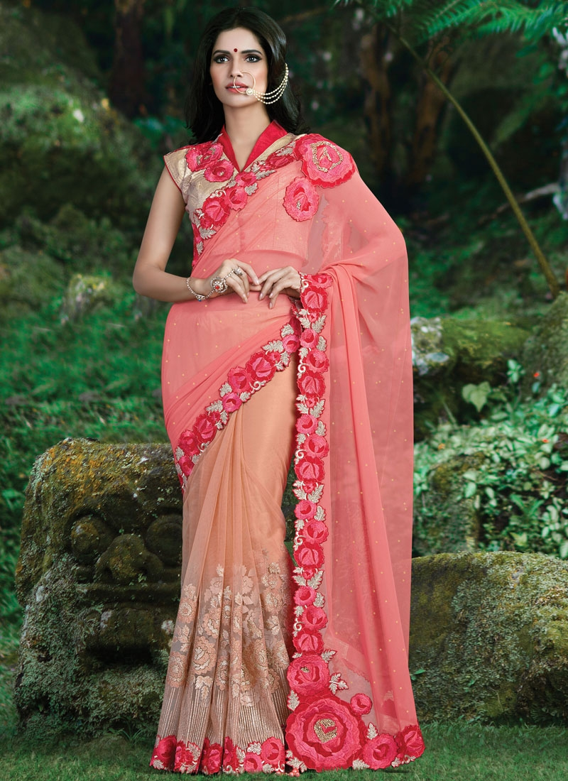 Gorgonize Floral And Stone Work Half N Half Wedding Saree