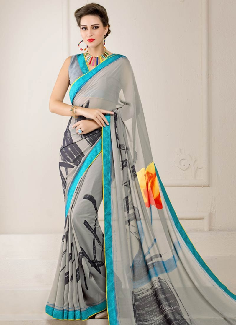 Gorgonize Grey Color Lace Work Casual Saree