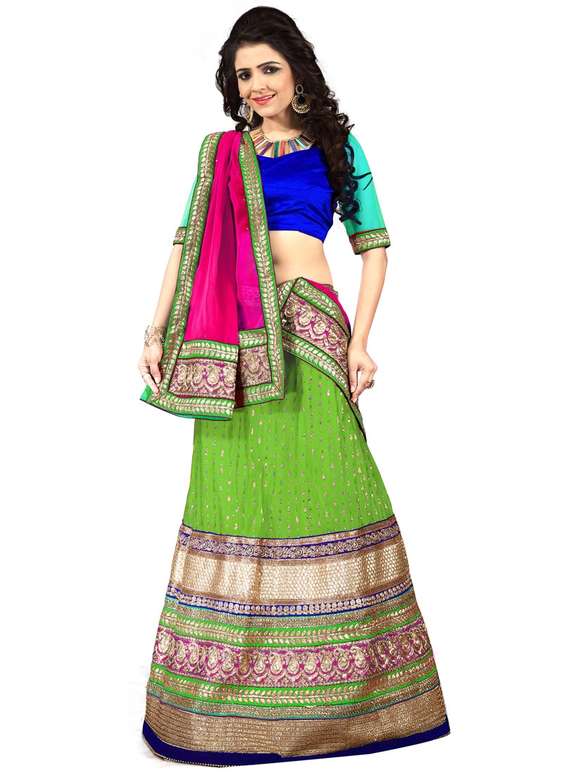 Gorgonize Mint Green Color Resham Work Designer Lehenga Choli