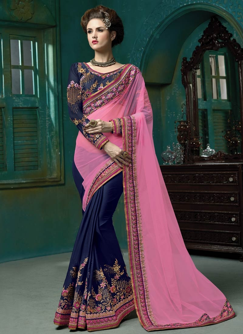 Gorgonize Navy Blue And Pink Color Half N Half Wedding Saree