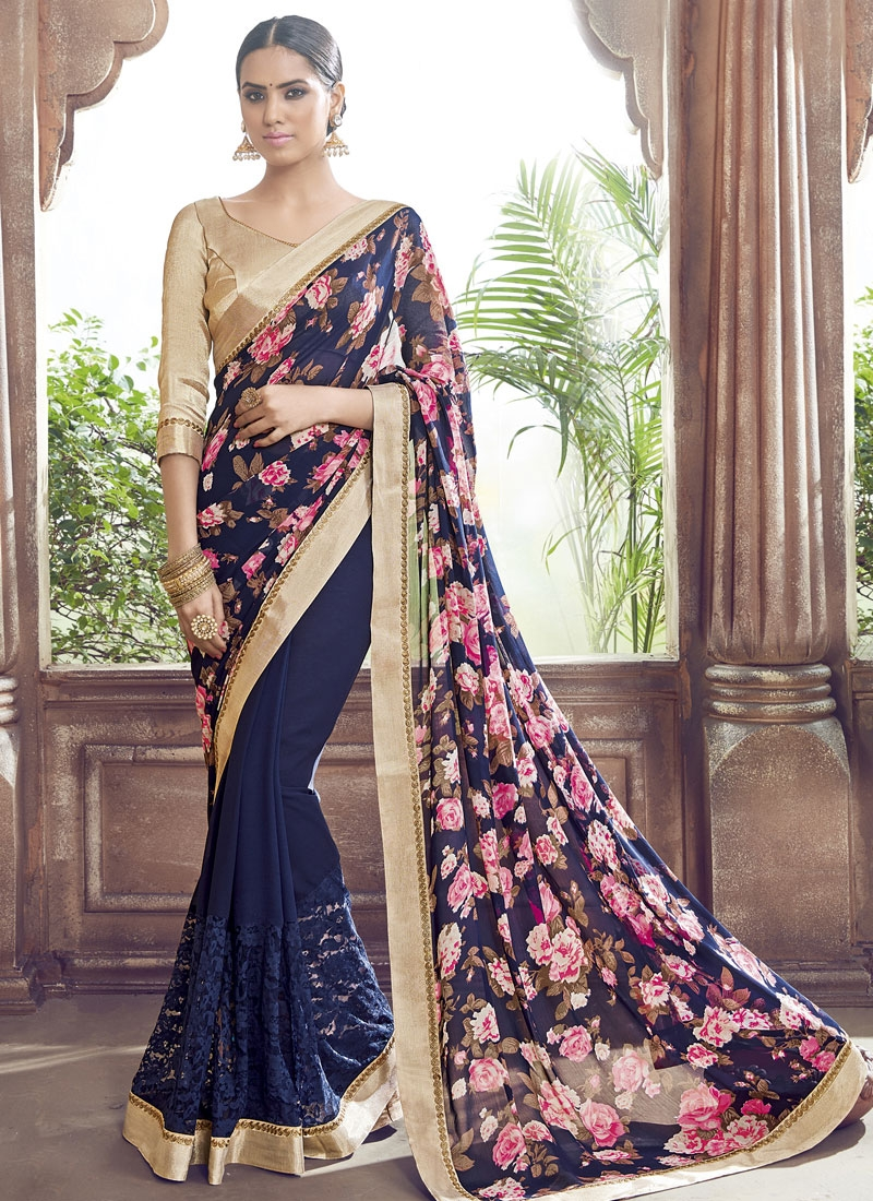 Gorgonize Navy Blue Color Net Party Wear Saree