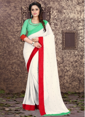 Gorgonize Off White Color Stone Work Casual Saree