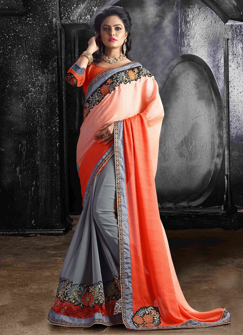 Gorgonize Patch Border Work Half N Half Party Wear Saree