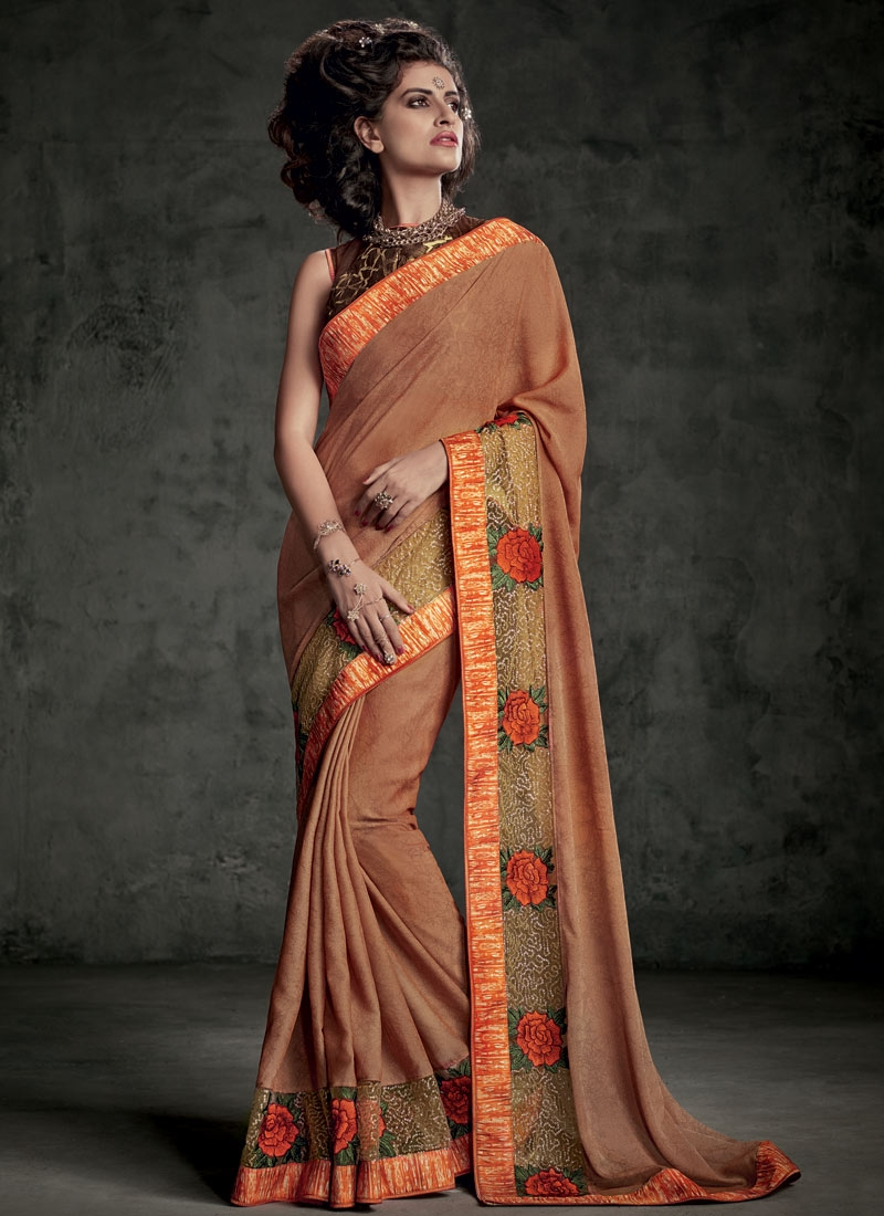 Gorgonize Patch Border Work Jacquard Designer Saree