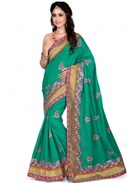 Gorgonize Patch Border Work Sea Green Color Designer Saree