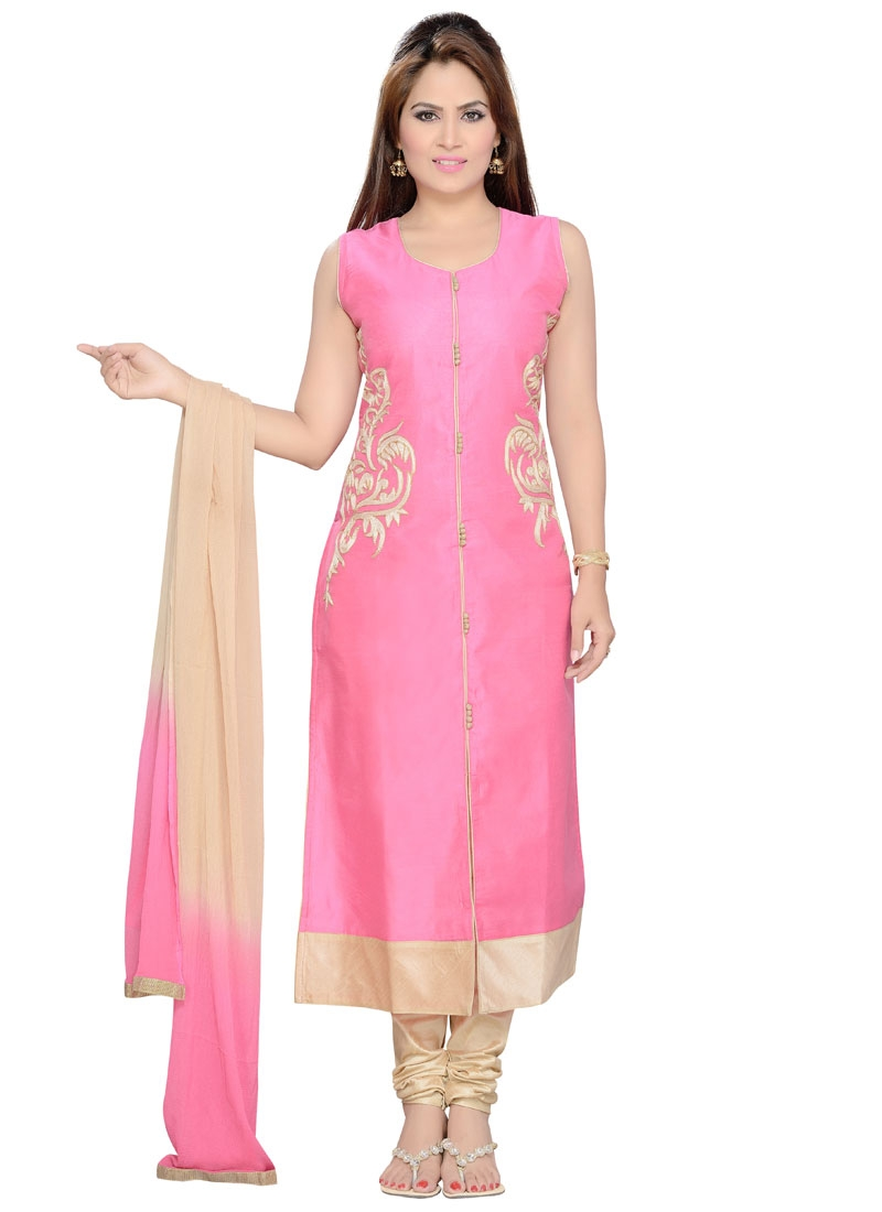 Gorgonize Pink And Beige Color Party Wear Readymade Salwar Suit