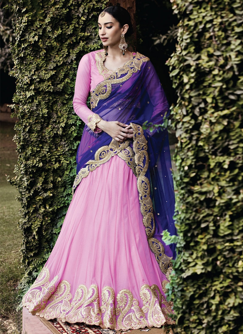 Gorgonize Pink Color Stone Work Wedding Lehenga Choli