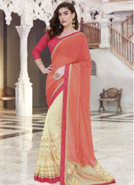 Gorgonize Resham And Lace Work Half N Half Designer Saree