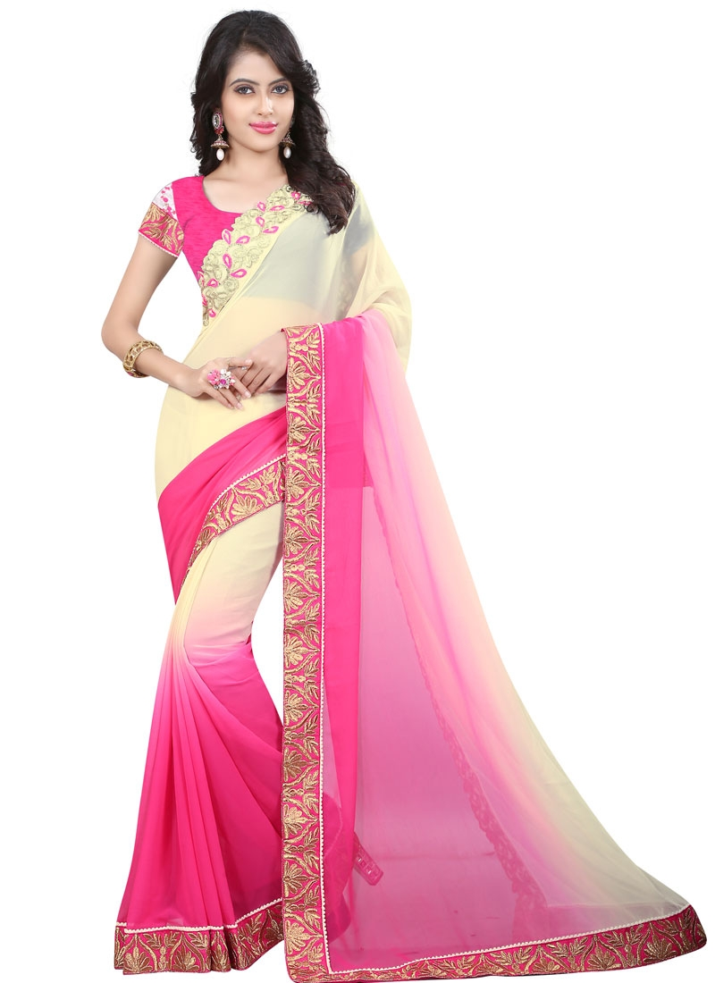 Gorgonize Rose Pink And Cream Color Party Wear Saree