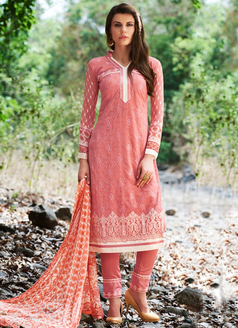 Gorgonize Salmon Color Resham Work Pant Style Party Wear Salwar Kameez