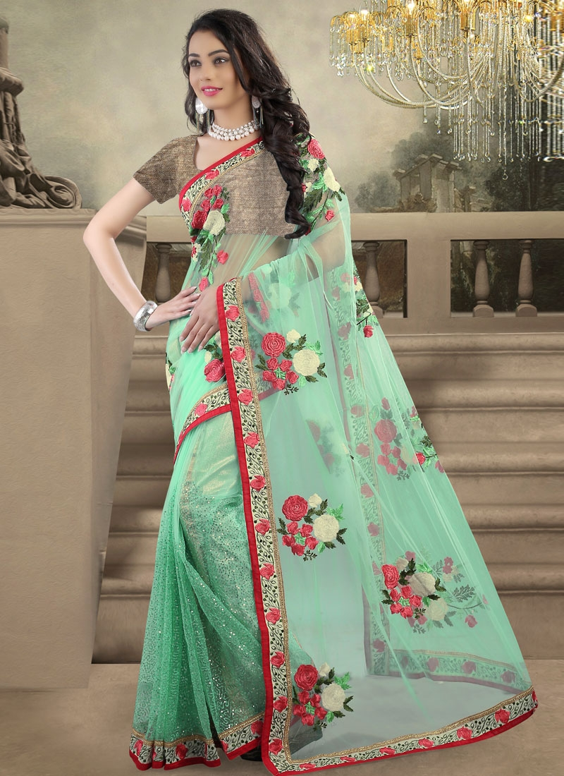 Gorgonize Sequins And Floral Work Designer Saree