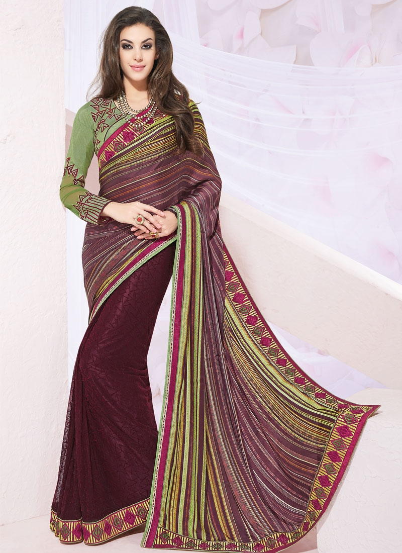 Gorgonize Silk Georgette And Net Half N Half Party Wear Saree