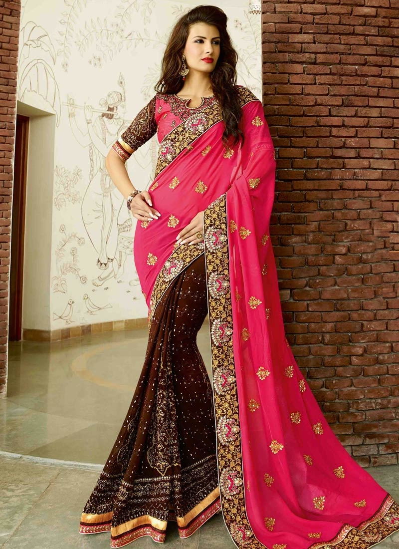 Gorgonize Stone And Booti Work Half N Half Bridal Saree
