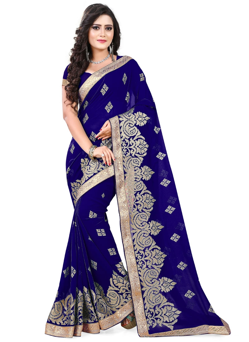 Gorgonize Stone And Resham Work Designer Saree