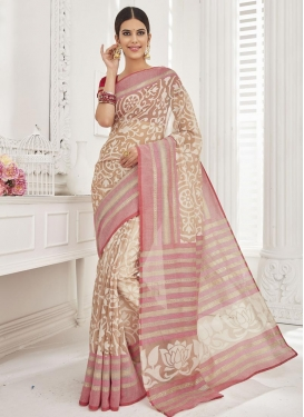 Graceful Beige and Pink Resham Work Brasso Georgette Contemporary Saree For Ceremonial