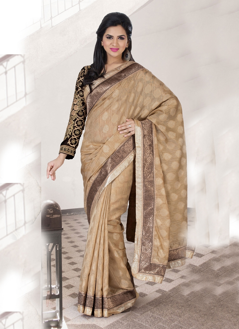 Graceful Beige Color Georgette Party Wear Saree
