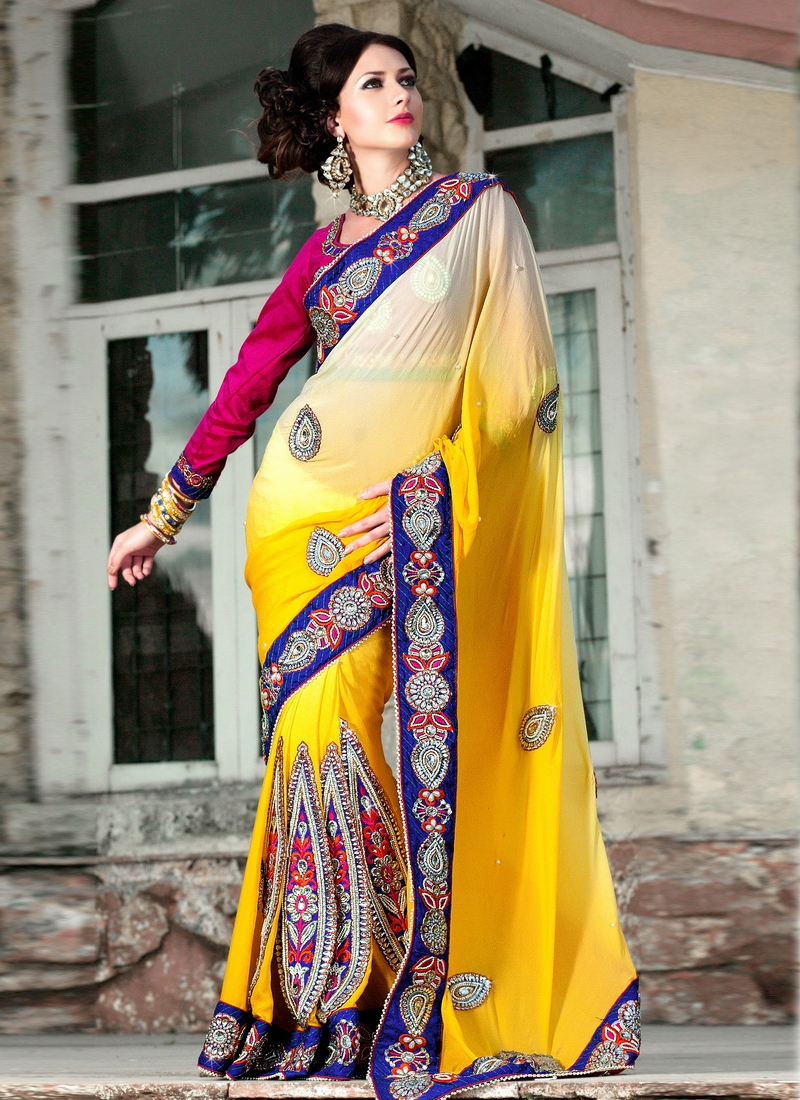 Graceful Cream And Yellow Color Wedding Saree