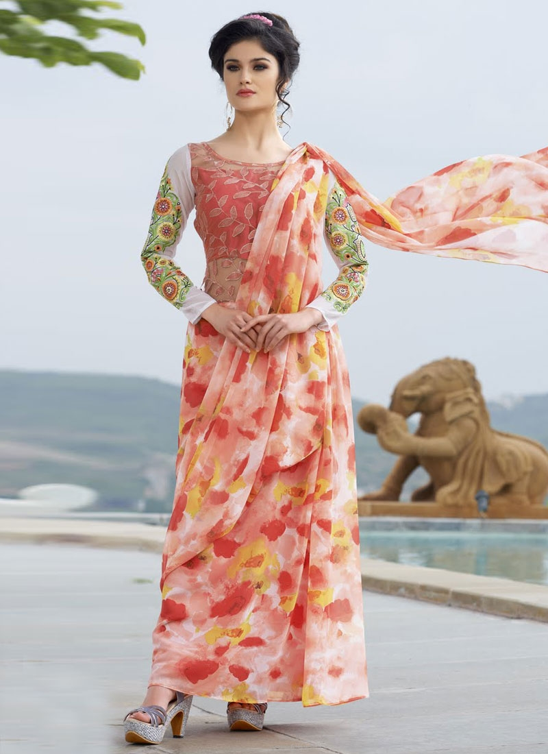 Graceful Digital Print Work Designer Readymade Gown