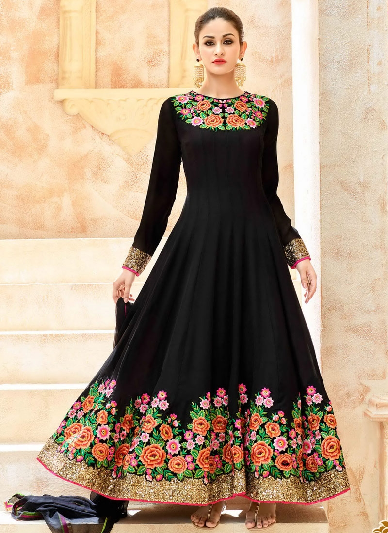 00ce7078e9 Shop Graceful Embroidered Work Pure Georgette Anarkali Salwar Kameez ...