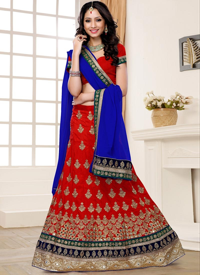 Graceful Embroidery Work Red Color Wedding Lehenga Choli