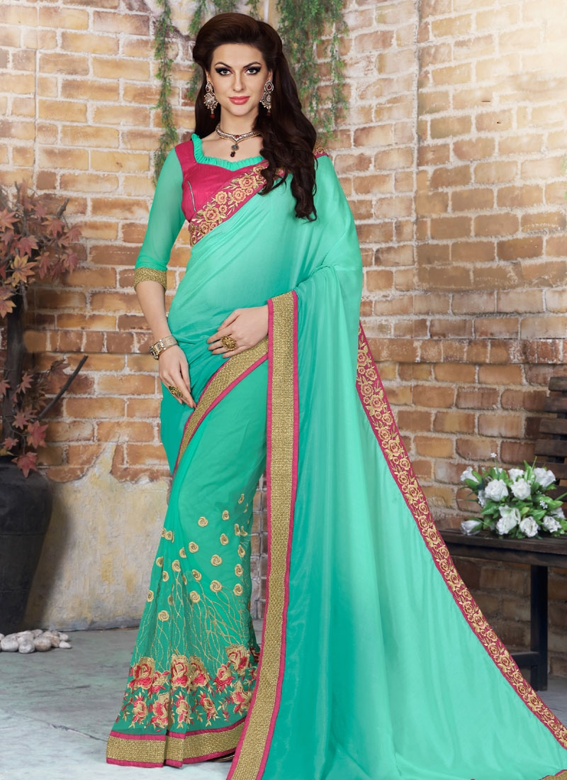 Graceful Floral Work Chiffon Satin Designer Saree