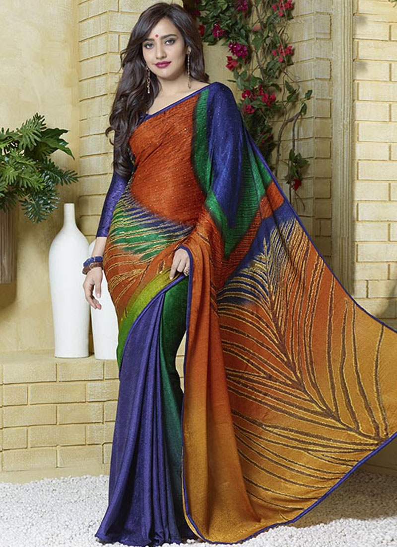 Graceful Navy Blue Color Stone Work Neha Sharma Casual Saree