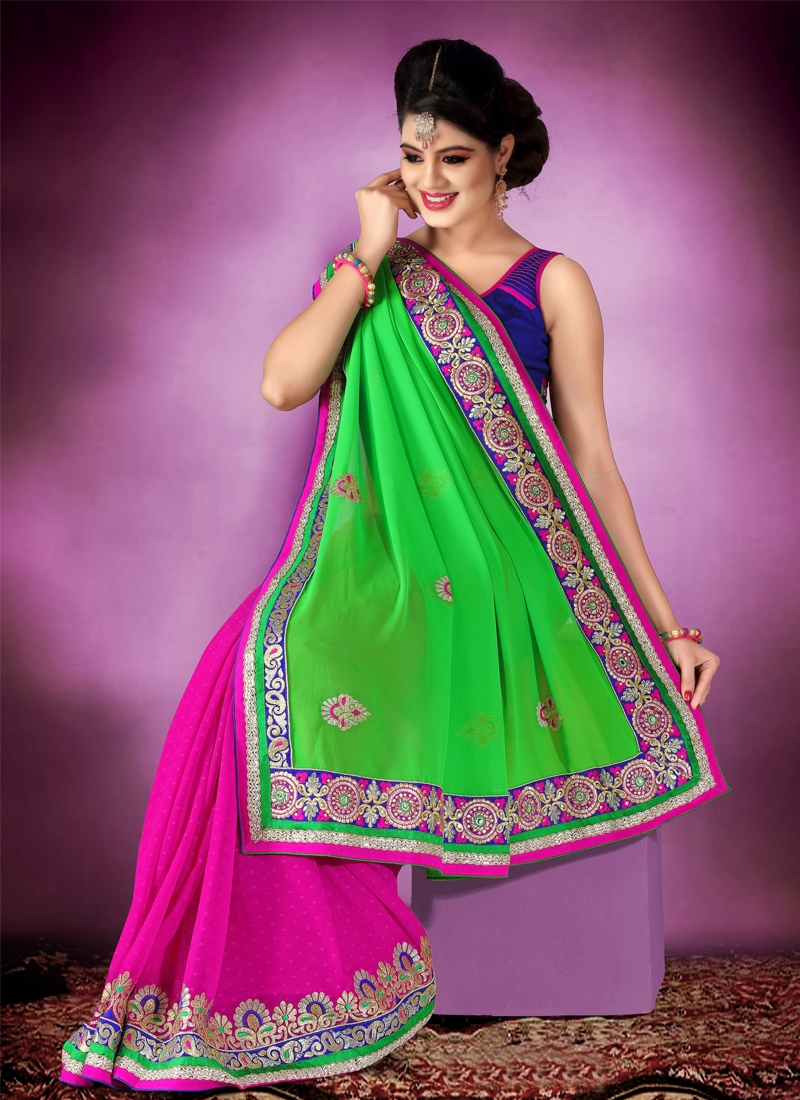 Graceful Patch And Booti Work Half N Half Saree