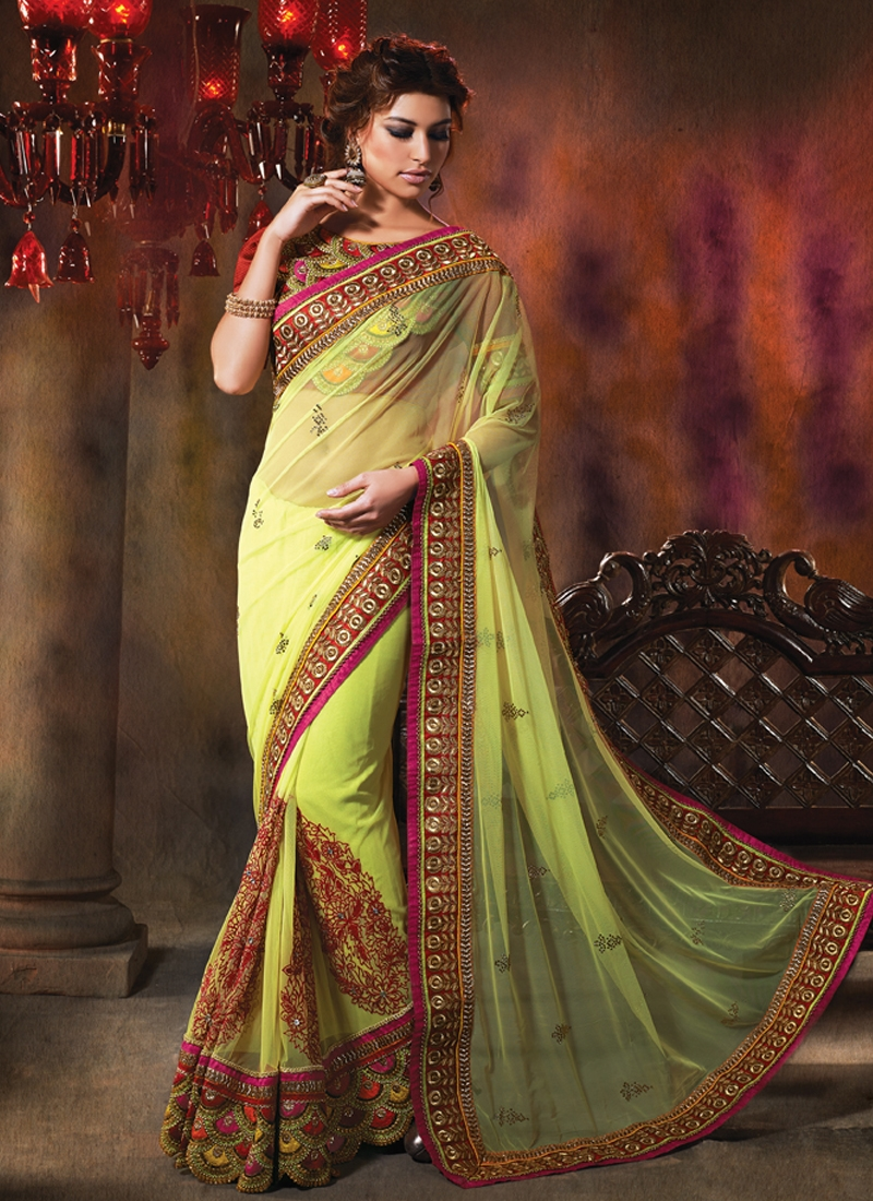 Graceful Patch Enhanced Net Wedding Saree