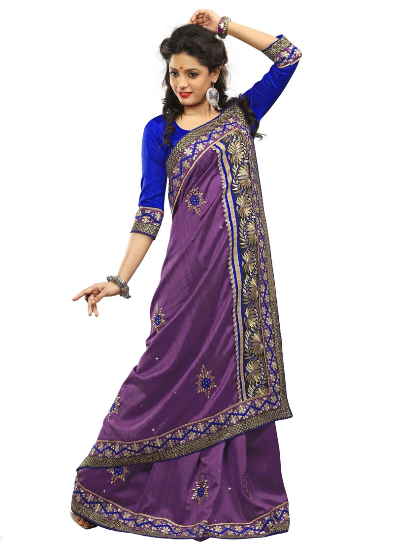 Graceful Purple Color Floral Work Party Wear Saree