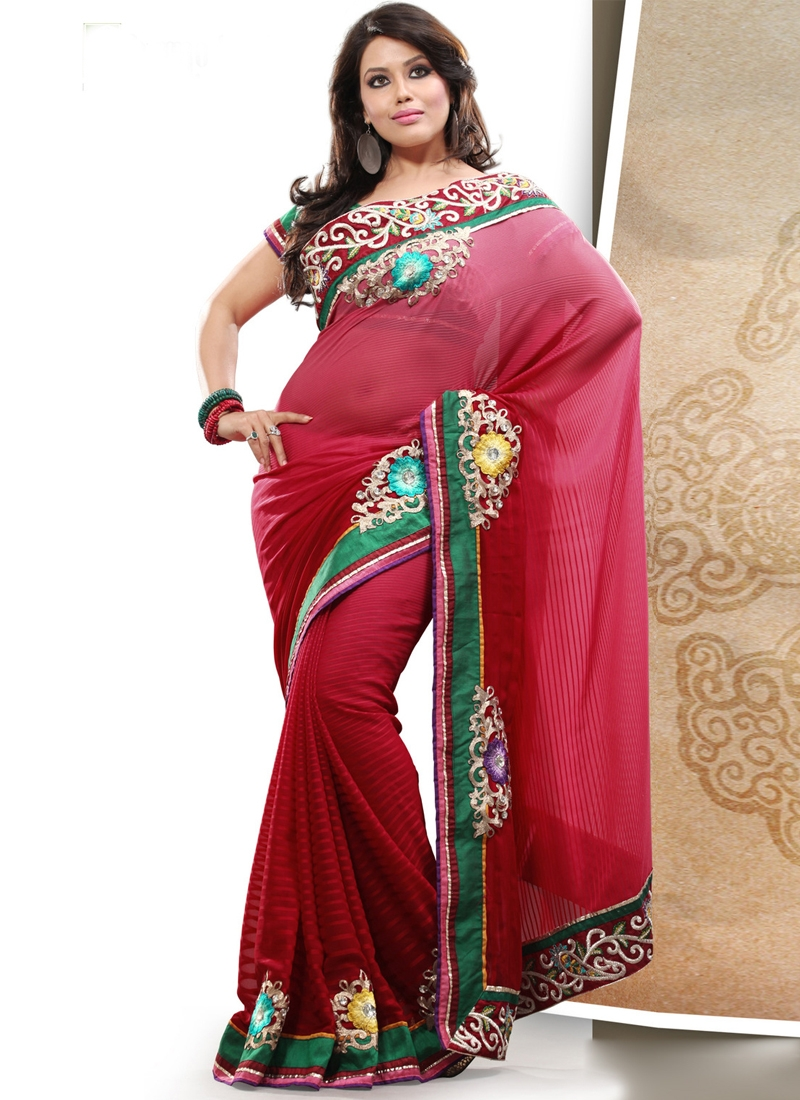 Graceful Red Color Patch Work Party Wear Saree