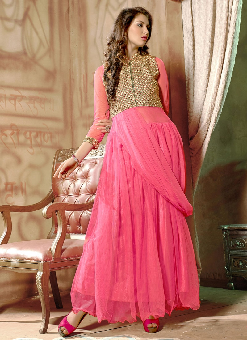Graceful Resham Work Net Party Wear Readymade Gown