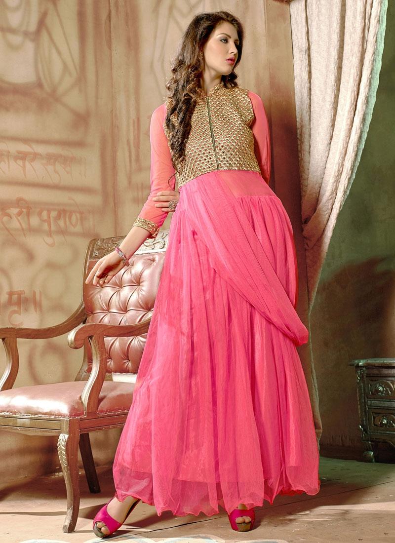 Graceful Resham Work Net Party Wear Readymade Gown
