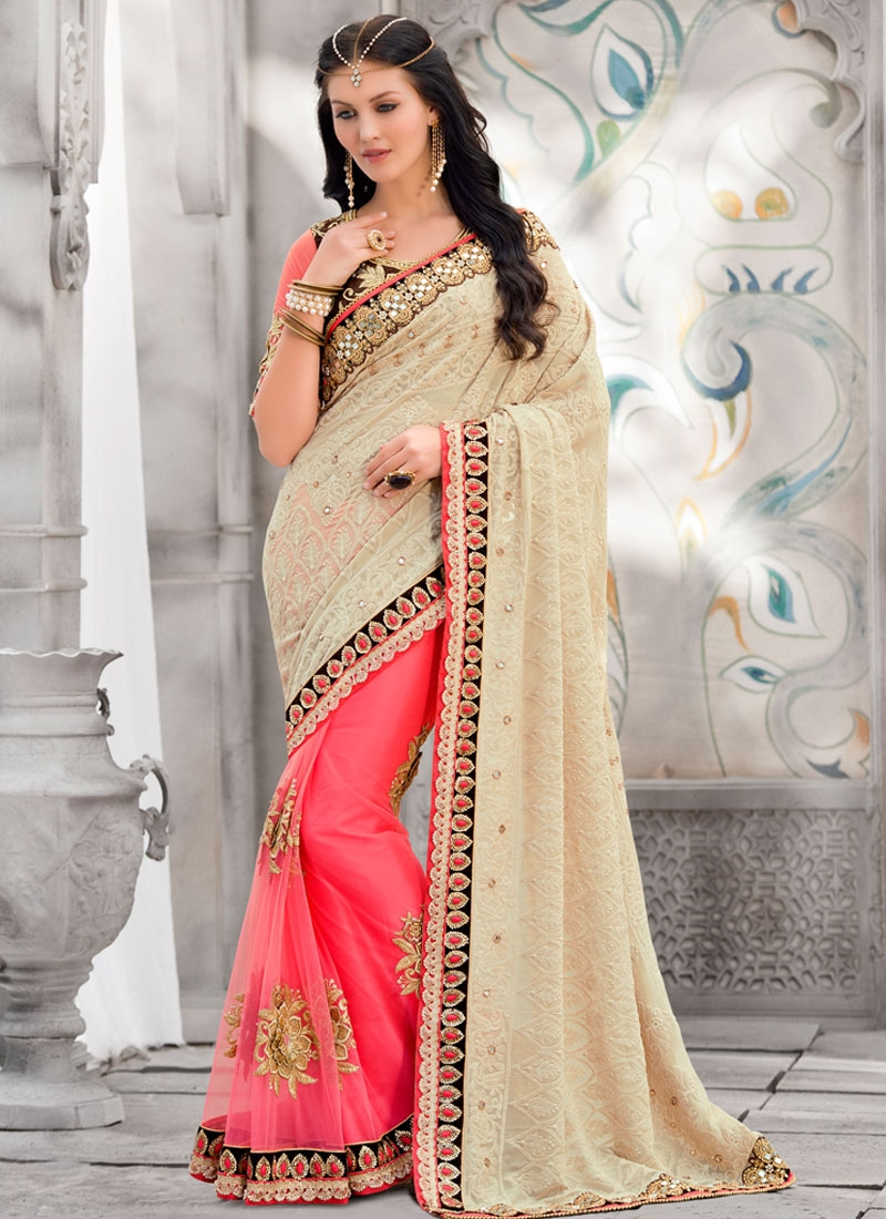 Graceful Stone And Embroidery Work Half N Half Wedding Saree